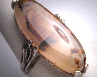 Antique Agate Ring Victorian Art Nouveau Silver Vintage