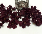 Silk Flowers - 24 Baby Cosmos in EGGPLANT Purple- TINY FLOWERS - Artificial Flowers