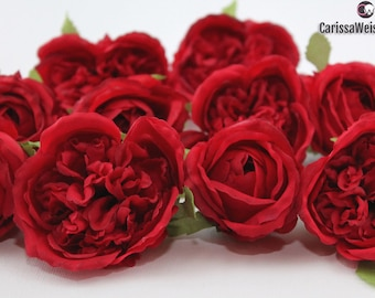 Silk Flowers - 10 RED Cabbage Roses and Buds -  Artificial Roses, Wedding Flowers