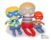Embroidery Machine Superhero Boy Doll ITH Pattern PDF - removable Cape Mask Glasses & Belt Included - baby safe stuffie
