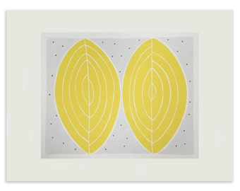 Screenprint / screenprint yellow, abstract art, simple handmade original silkscreen print, yellow and grey by Emma Lawrenson