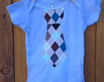 12 Months Bodysuit with Argyle Tie