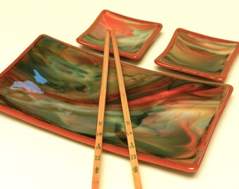 Sushi Set, Orange and Green Streaky Glass, Burnt Orange Edge and Base, Plate and Two Small Dishes,