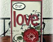 Chipboard Accordion Style Scrapbook -- Love themed Scrapbook Album