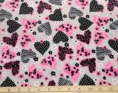 Black and Pink heart  Minky fabric, minky by the yard, fabric yardage