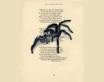 Spider, Jumping Spider - Original Watercolor Painting - on Antique Book page - 8x11inches