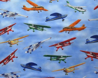 Plane fabric piper cub aircraft timeless treasures for Airplane fabric by the yard