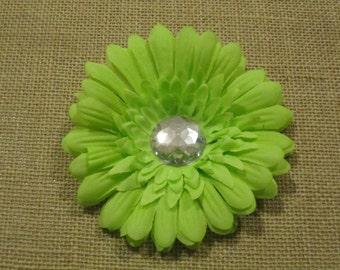 Green daisy hair clip with rhinestone