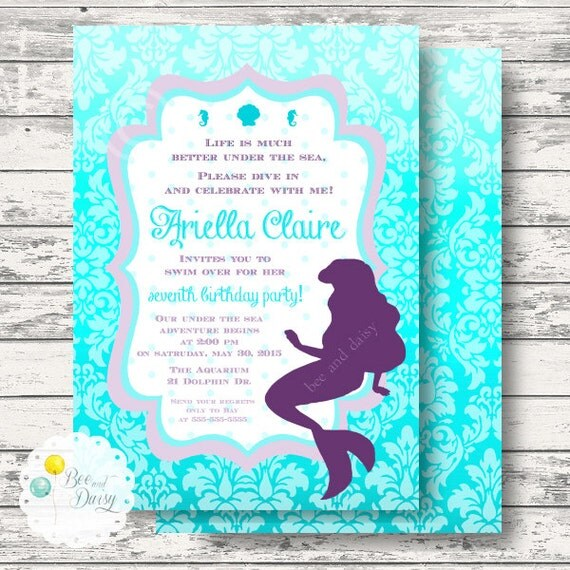 little mermaid birthday invitation girls birthday party invitation
