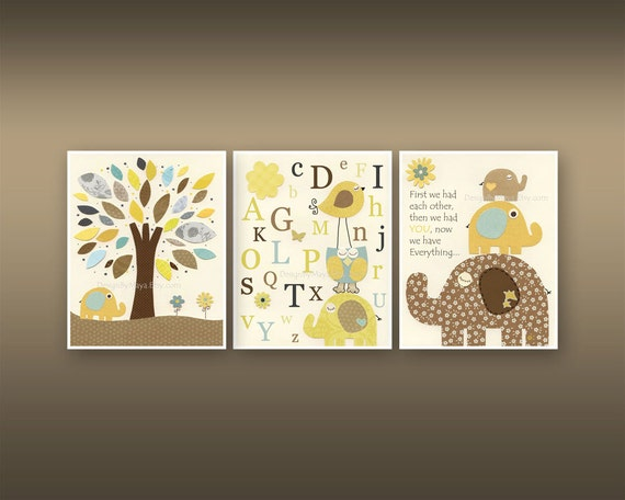 Nursery Wall Decor Set : Kids wall art nursery decor baby boy room set
