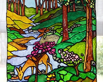 Forest stream window cling, stained glass look