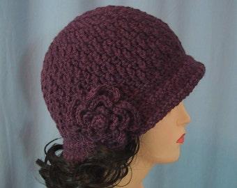 Purple Cloche Hat with Flower - Hand Crocheted - Soft Acrylic Yarn - Handmade - Size Medium - Ready to Ship - Great Gift