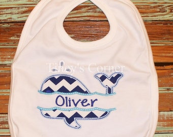 Split Whale First Name Appliqued Bib