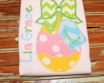 Easter Egg Tag Appliqued Ruffle Shirt