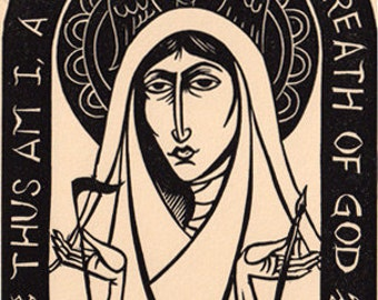 Hildegard of Bingen linocut Christian prayer Saint icon