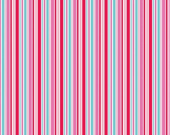 Lovey Dovey Riley Blake Fabric - 1 Yard Red Stripes