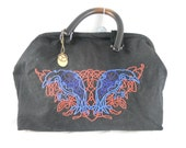 Carpet bag - black embroidered ravens - Victorian Steampunk - 6 pockets