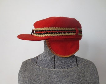 50s, 60s Red Wool Ear Flap Cap with Moose!