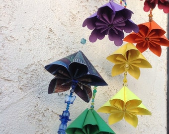 Origami Paper Flower Rainbow Mobile