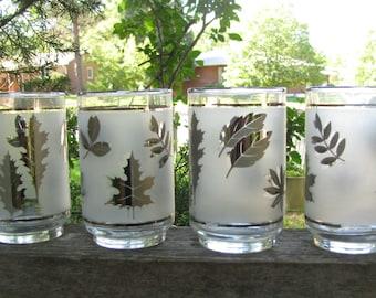 Sale!Sale!Sale! Vintage 1960's Barware Hollywood Regency Libbey Silver Leaf Glassware Marked down 7 Glasses