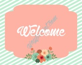 Vintage Flower Party Printable Welcome Sign