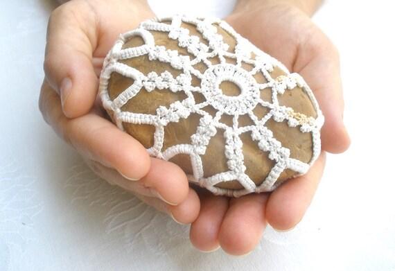 20% Off- Crochet lace stone, Natural Wedding  favors ,Inspirational Wedding Decor,  Shabby chic Stone, Ring Bearer Pillow alternative.