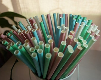 50 Paper Drinking Straws - Solid Colours - Biodegradable - Party All Occasions