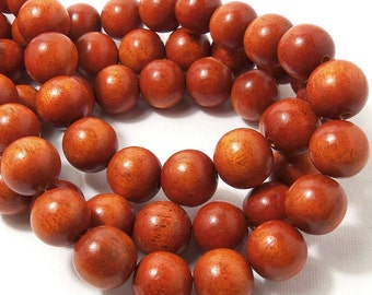Sibucao, 14mm - 15mm, Natural Redwood Beads, Wood Bead, Round, Smooth, Large, Full Strand, 30pcs - ID 1640
