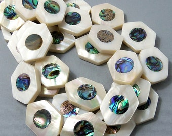 Makabibi Shell with Abalone Shell Inlay, Hexagon, Natural Shell, Artisan Handmade, Unique Focal Bead, 20x30mm, Large, 2pcs - ID 1575-SET2