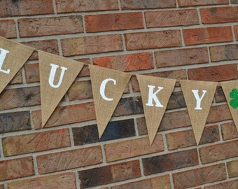 Lucky in Love banner  ..  St Patrick's Day  ..   Wedding banner   ...   Engagement  ..  shamrocks