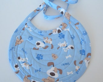 Baby Bib Quilted Reversible Puppies and Puppy Dog Feet