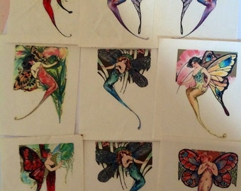 Lot Of 9 Unused Art Nouveau  Fairy/NymphSprite Iron On Transfers