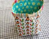 small knitting project bag sock sack (socksack) -folk birds and spots