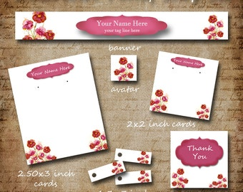 Custom SHOP SET, Watercolor Pansy, Shop Set, Shop Banner Set, Jewelry Cards