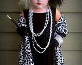 READY to ship Cruella Deville shawl for costume 101 Dalmations