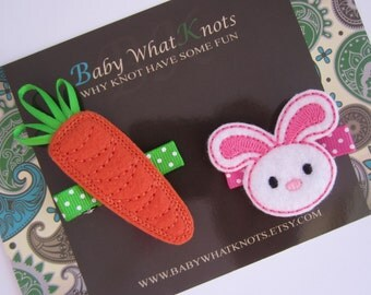 Easter Bunny and Carrot Hair Clip Set, Rabbit Pigtails, Hair Clippies, Girl Barrette, Hair Clippies, hcset09