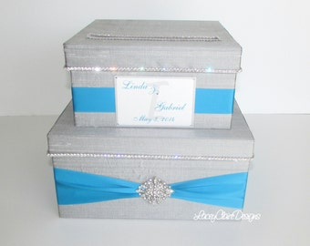 Card Box, Wedding Card Box, Money Holder, Gift Card Holder Custom Made Pewter and Turquoise