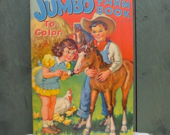 vintage jumbo farm coloring or paint book - life on the farm
