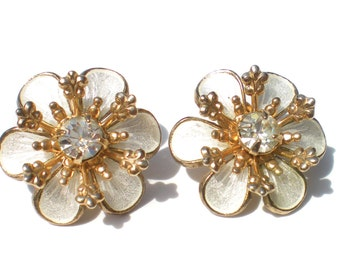 Vintage Flower Earrings with Enameled Petals on Gold Tone with Rhinestone Centers - Vintage Costume Jewelry