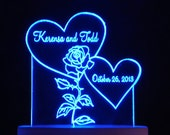 Rose and  Hearts Wedding Cake Topper  - Engraved & Personalized - Light OPTION