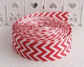 CLEARANCE SALE* FREE Shipping~ 3 yards x  Grosgrain Ribbon,Red Wavy Lines Chevron Sewing Scrapbooking Hair Bows Sewing Scrapbooking