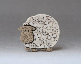 Sheep brooch ...Baaaa.... handmade stoneware with porcelain inlays
