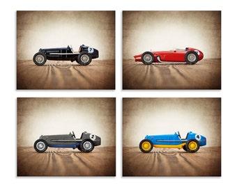 Set of Four Vintage Race Cars on Wood, Boys Room decor, Race Car prints