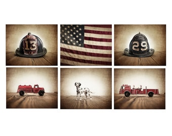 The Fireman Setof 6 Photo Prints, Fireman themed decor, Boys Room Decor, Fire truck Wall Art