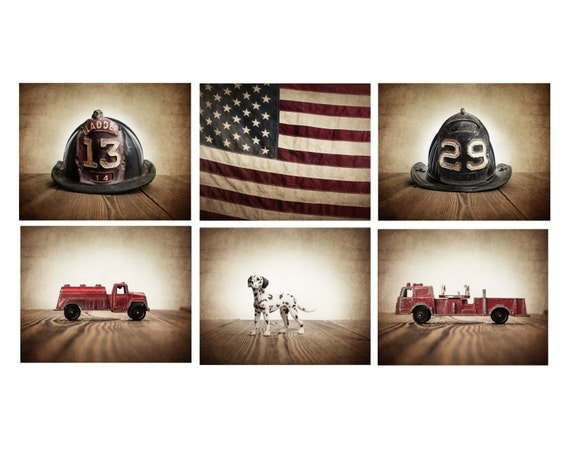 The Fireman Setof 6 Photo Prints Fireman Themed Decor Boys