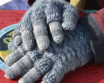 "Instant Download Knit Glove PATTERN - Men, Women, Kids ""Mermaid Tails and Dragon Scales"" Cabled Mittens, Fingerless or Flip-Top, with liner"