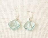 Aqua Quartz  Earrings,  Aquamarine Glass Quartz Drops,  Faceted Cut Quartz, Sterling Silver