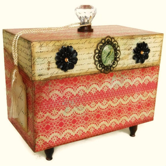 Decorative Recipe Box 2: Decorative Box Recipe Box Rustic Country Decor By