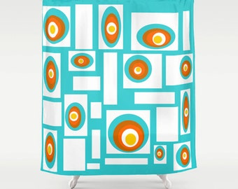 Blue Shower Curtain, Geometric Shower Curtain, Mid Century Modern Shower Curtain, Mod Shower Curtain