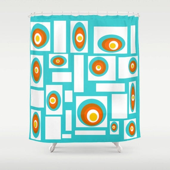 ... Shower Curtain, Mid Century Modern Shower Curtain, Mod Shower Curtain